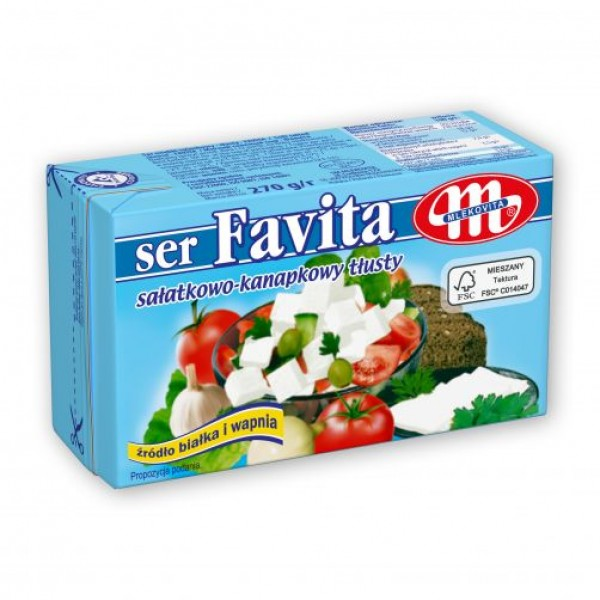 Mlekovita Favita Blau Vollfett 18 % Salat -Sandwich Käse 270 g